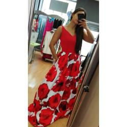vestido falda estampada